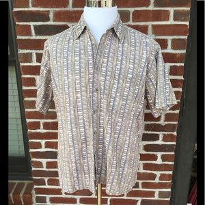 PIERRE CARDIN KHAKI/CREAM/GREY PRINT SHIRT EUC
